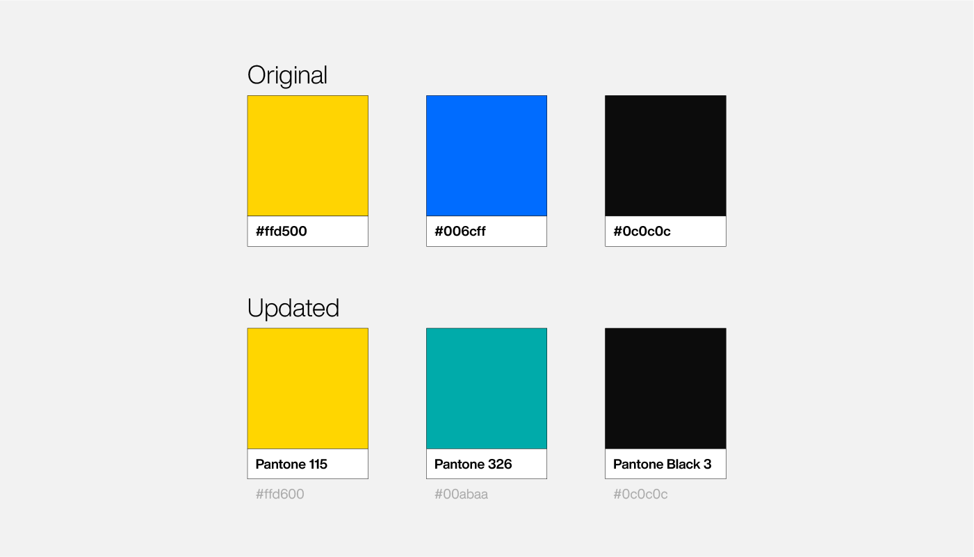 Pantone colour palette for Dain Walker personal brand by Connor Fowler cfowlerdesign