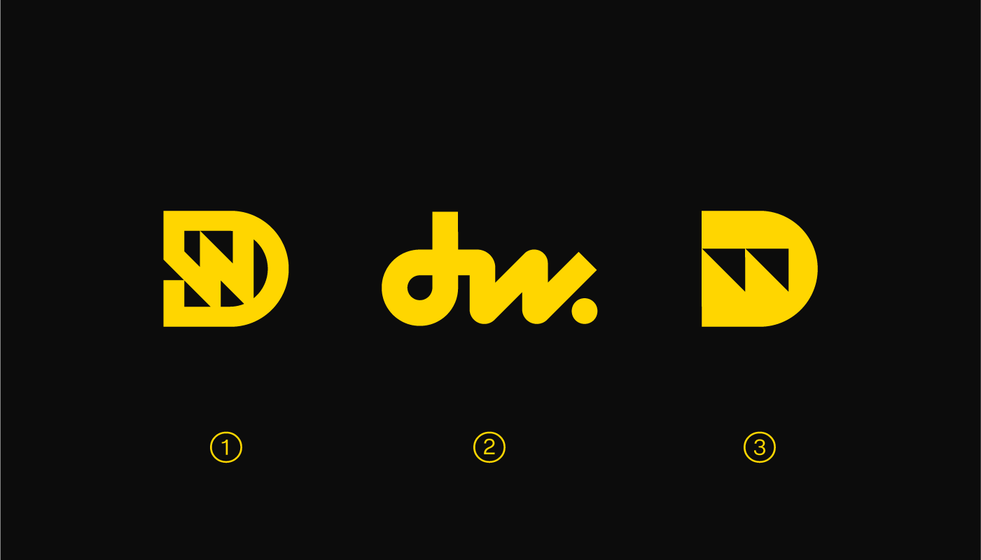 dw logo design concepts for Dain Walker by Connor Fowler cfowlerdesign