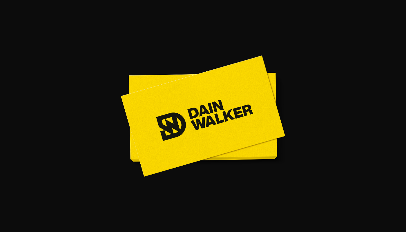 Dain Walker yellow business card design with dw letter logo by connor fowler cfowlerdesign