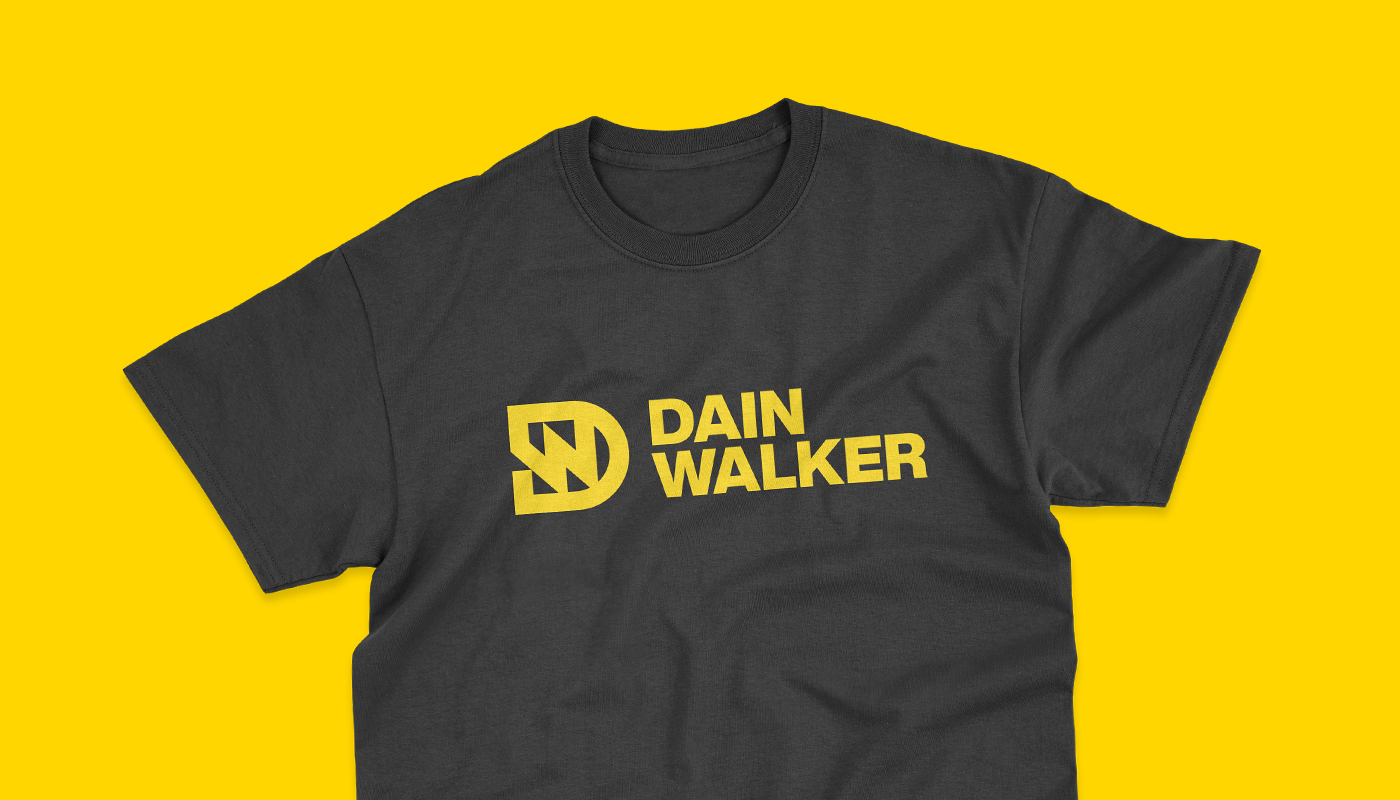 Dain Walker dw letter logo design printed in yellow on black t-shirt logotype branding by connor fowler cfowlerdesign