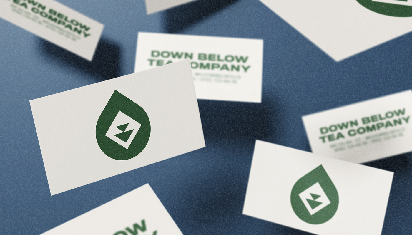 down below tea co business card design white with green design visual identity by connor fowler cfowlerdesign