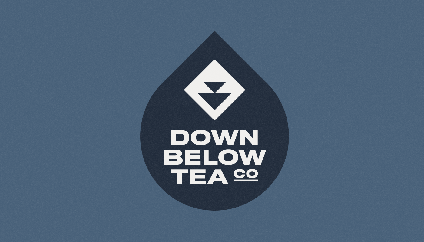 down below tea co droplet badge logo design wordmark visual identity by connor fowler cfowlerdesign