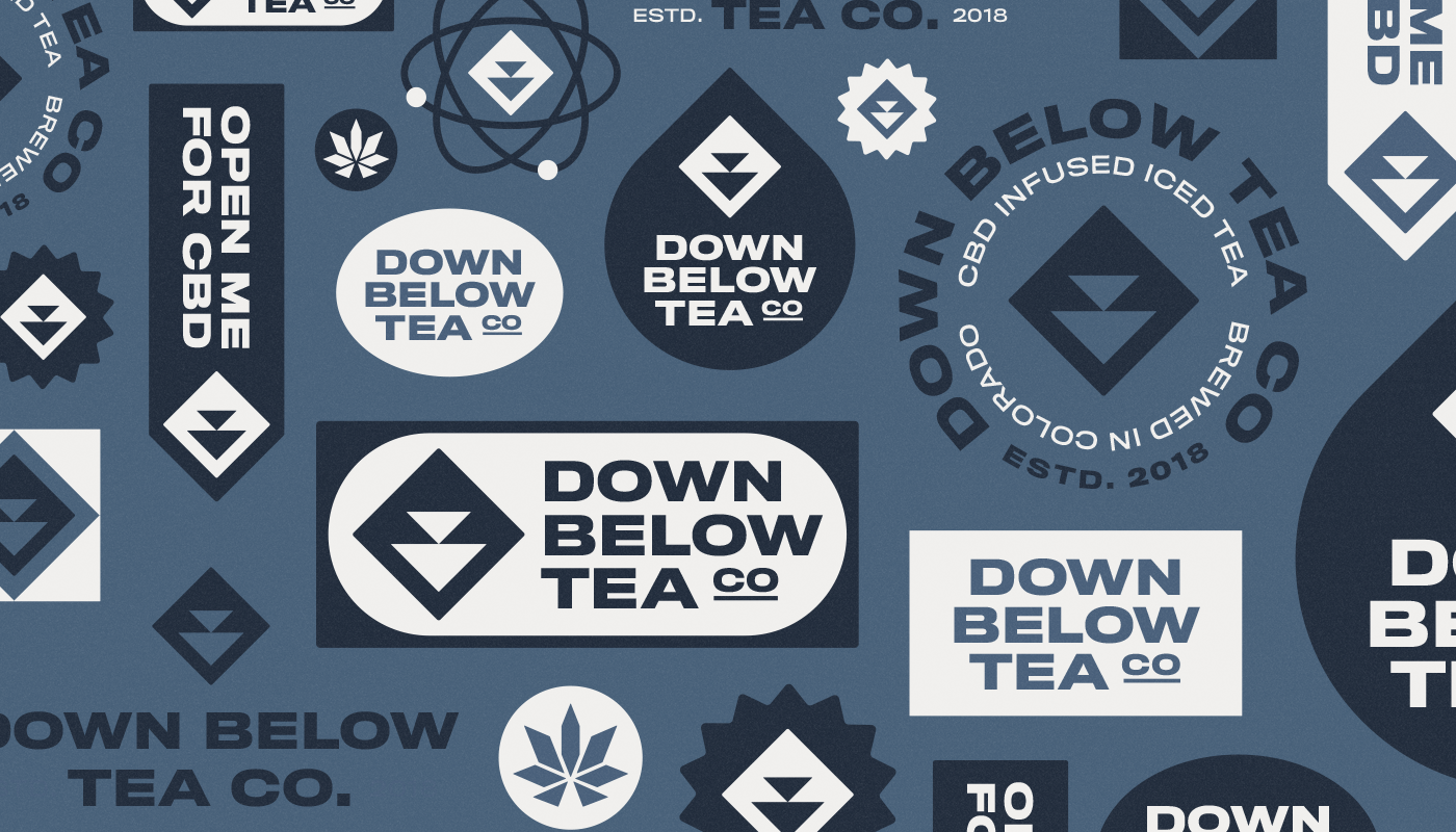down below tea co collection of logos and badge designs blue and white for cbd iced tea branding visual identity by connor fowler cfowlerdesign