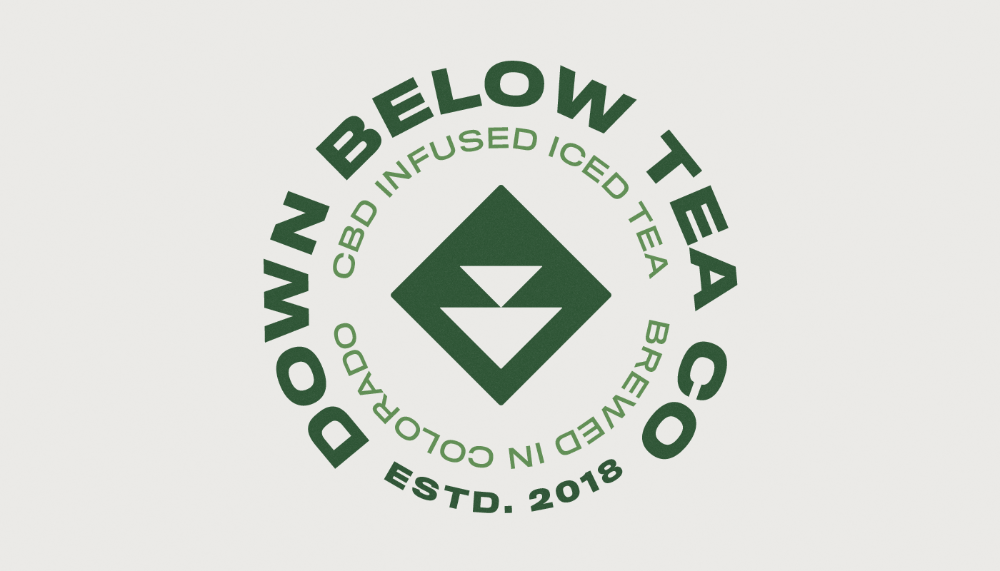 down below tea co circular badge logo design cbd iced tea visual identity by connor fowler cfowlerdesign