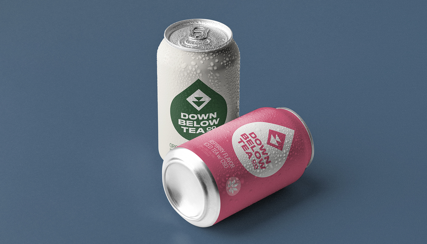 down below tea co original and raspberry cbd iced tea soda can packaging visual identity by connor fowler cfowlerdesign