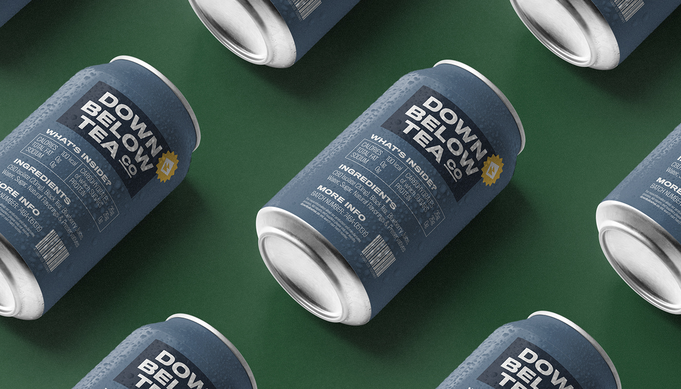 down below tea co blueberry flavor cbd iced tea multiple cans laying down visual identity by connor fowler cfowlerdesign