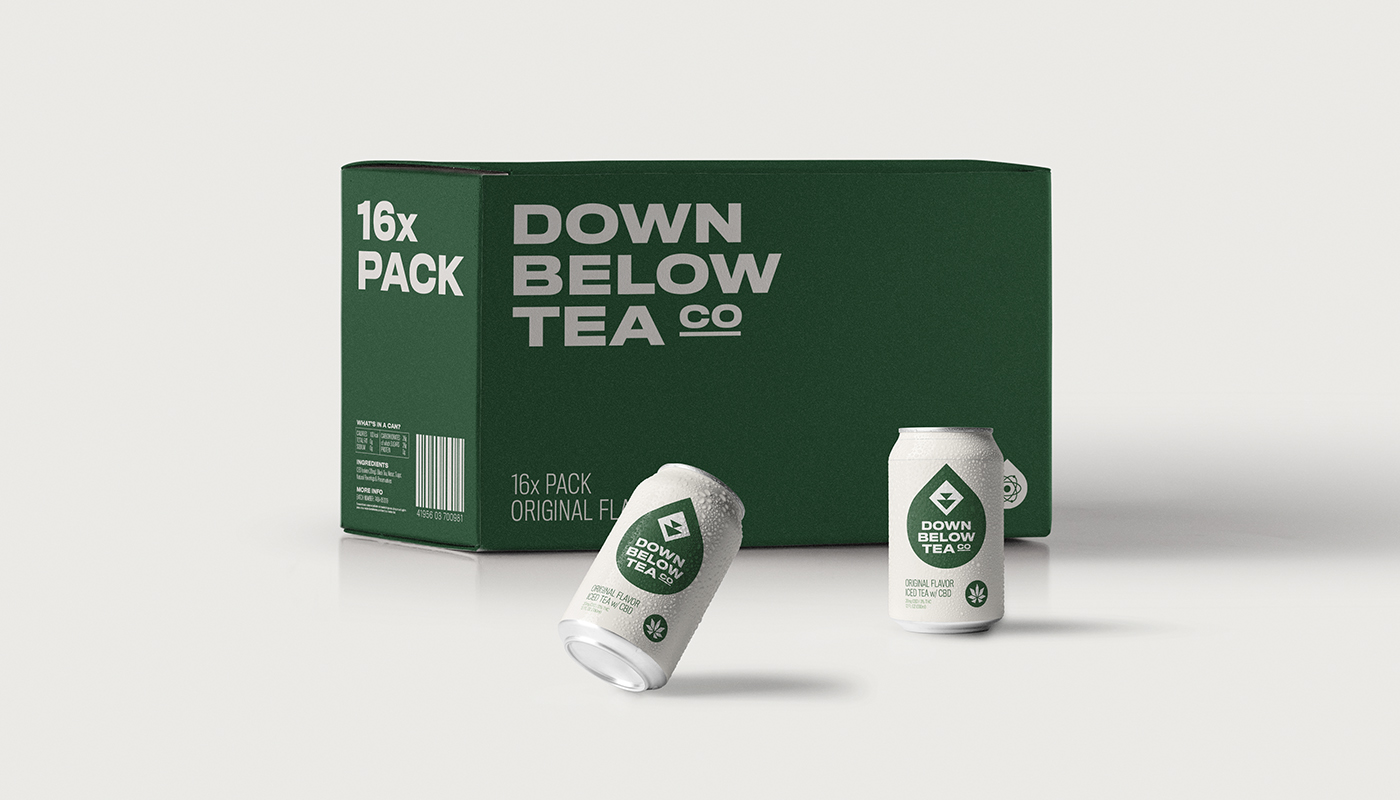 down below tea co original cbd iced tea multipack box with cans outside visual identity by connor fowler cfowlerdesign