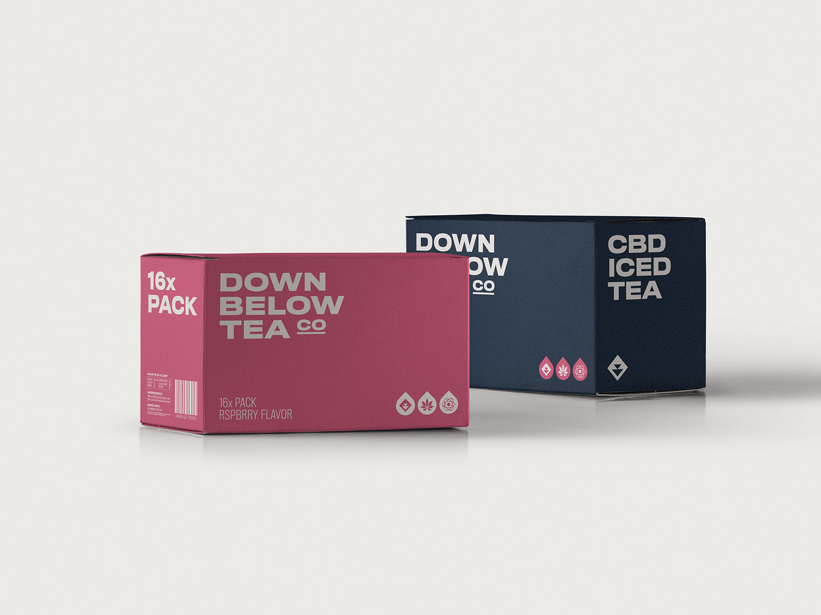 down below tea co box packaging for multiple cans of cbd iced tea visual identity by connor fowler cfowlerdesign