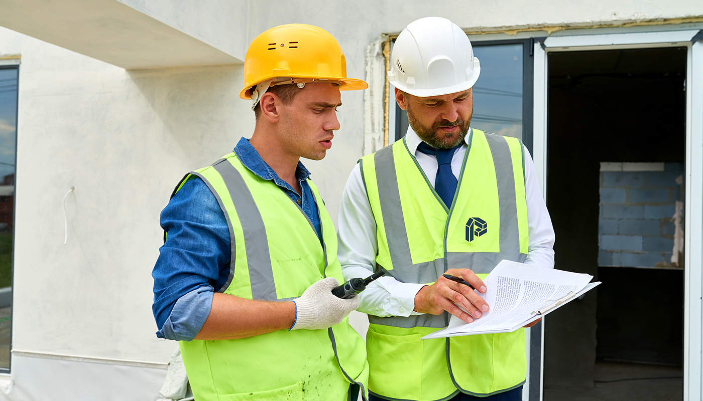 site manager and builder wearing hi vis jackets portsmere construction letter p logo design visual identity by connor fowler cfowlerdesign