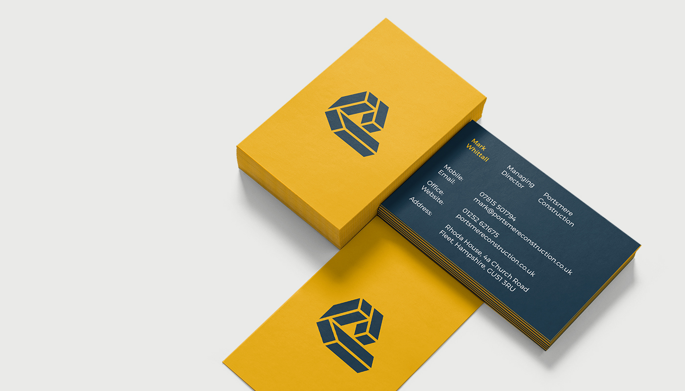 business card design front and back for portsmere construction letter p logo design visual identity by connor fowler cfowlerdesign