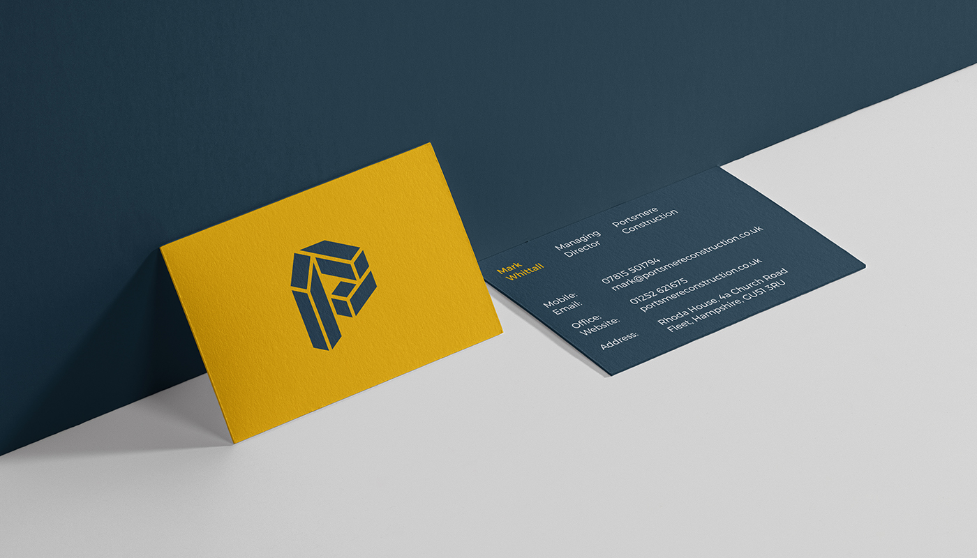 yellow and blue business cards for portsmere construction letter p logo design visual identity by connor fowler cfowlerdesign