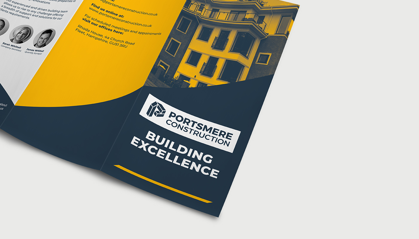 tri-fold leaflet promotional printing portsmere construction letter p logo design visual identity by connor fowler cfowlerdesign
