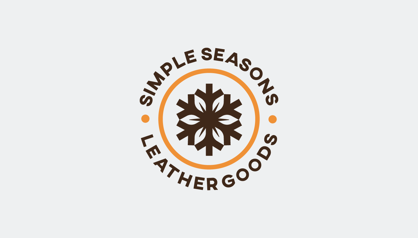 simple seasons leather snowflake leaf logo design badge concept visual identiy by connor fowler cfowlerdesign