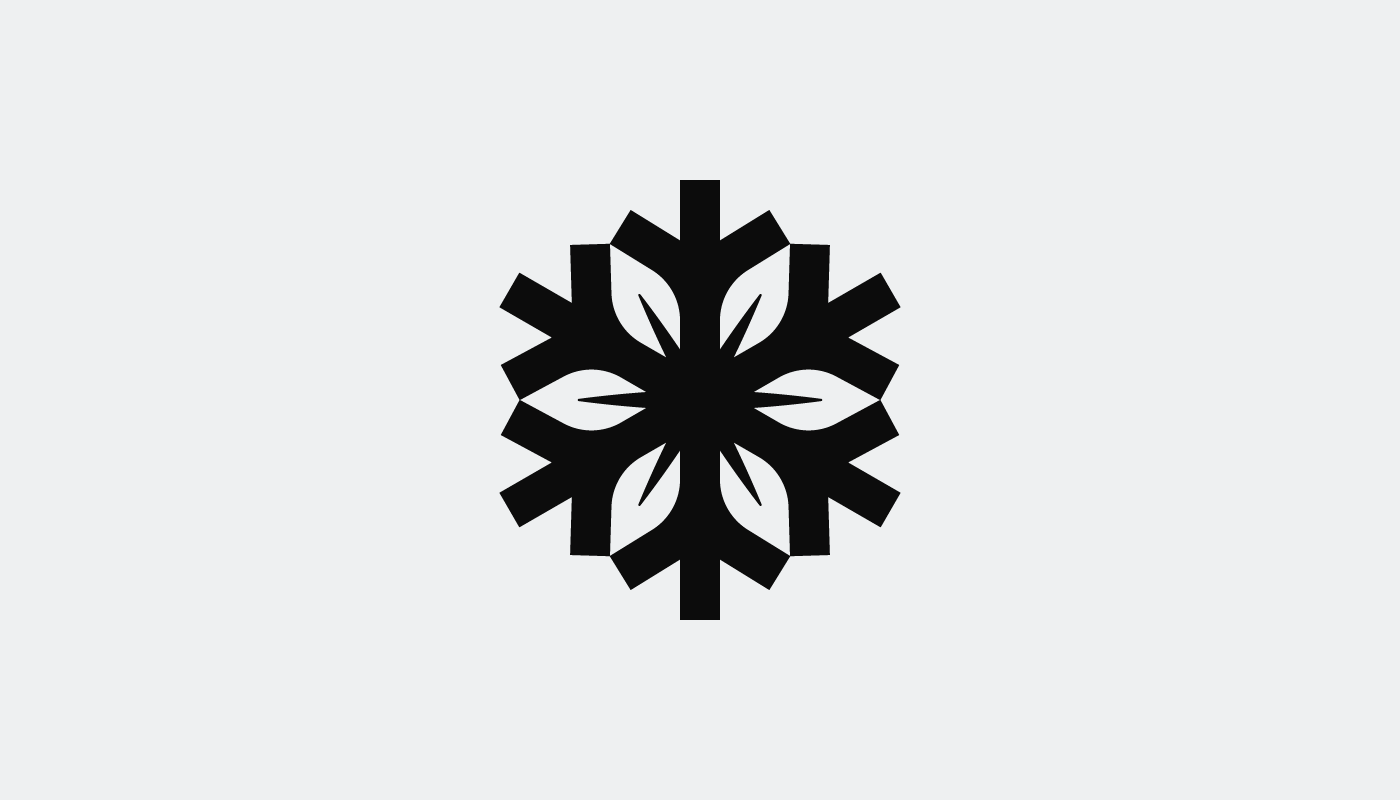 simple seasons leather snowflake leaf logo design in black on white visual identity by connor fowler cfowlerdesign