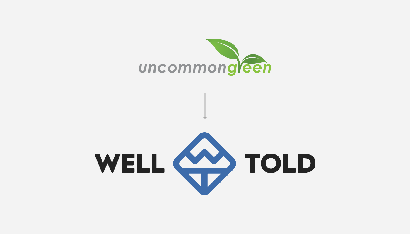 uncommon green rebrand to well told logo design visual identity by connor fowler cfowlerdesign