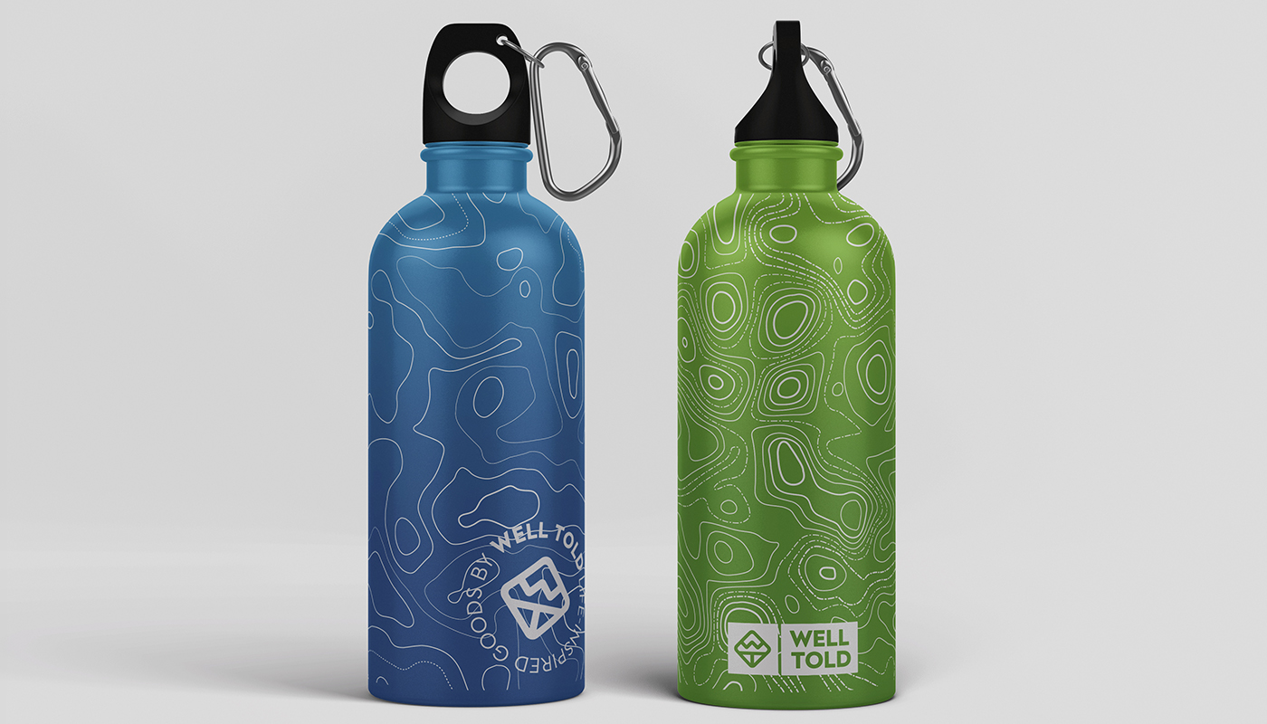 well told etched water bottle flasks map glassware logo design branding visual identity by connor fowler cfowlerdesign